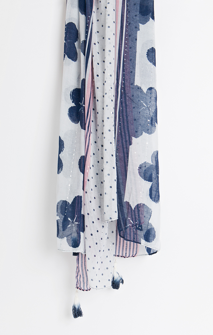 Colette Scarf - Navy/White