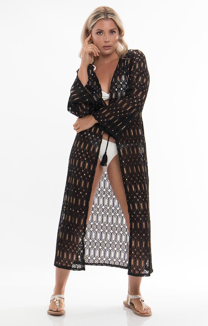 Fiesta Kimono - Black/Gold