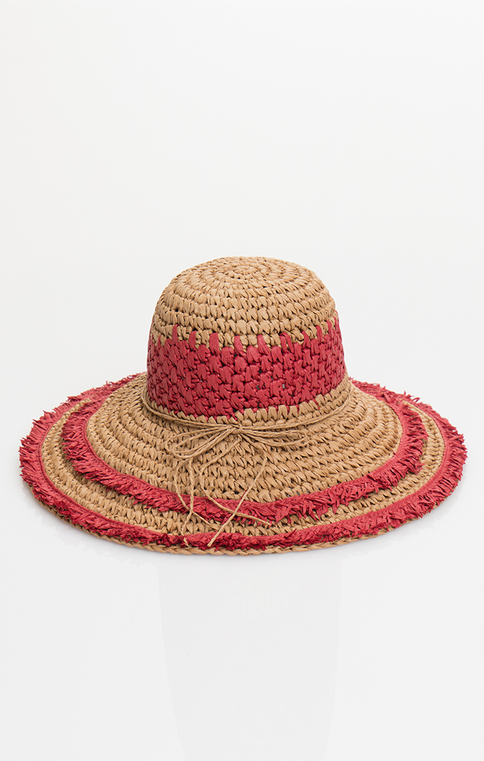 Florence Hat - Natural/Red