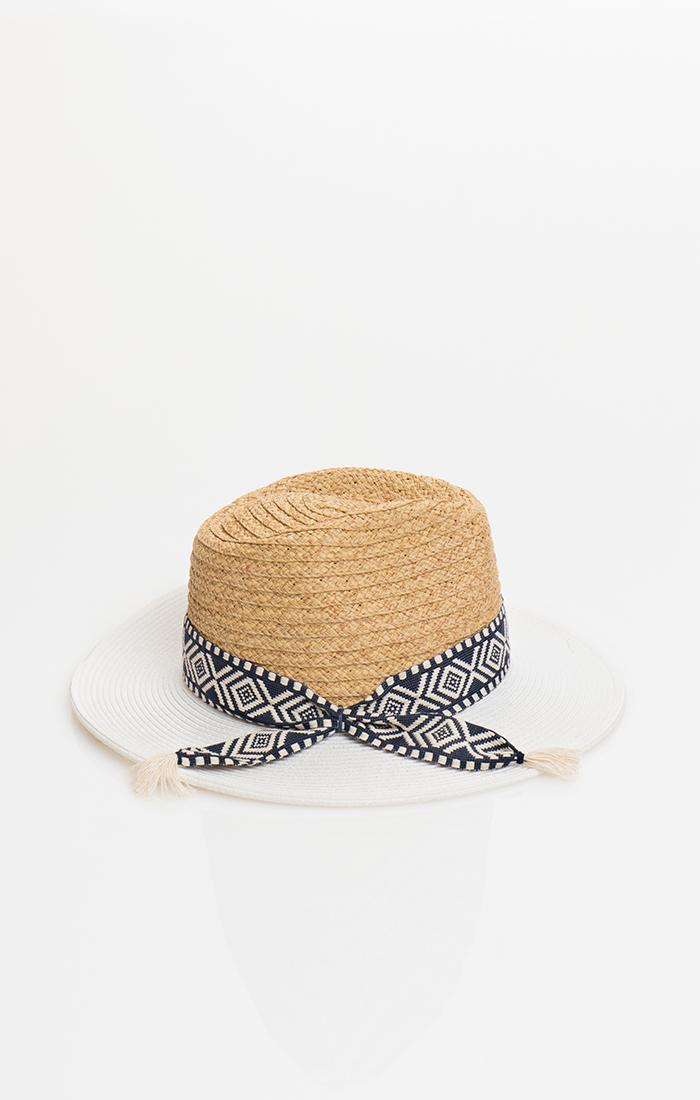 Rosa Hat - Tan/White
