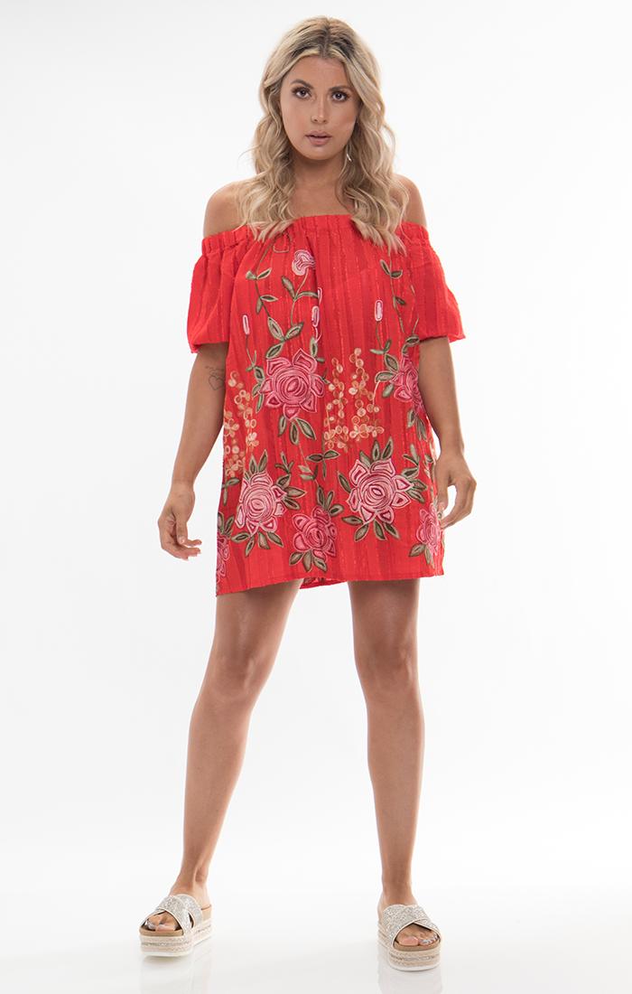 Zella Bardot Dress - Red
