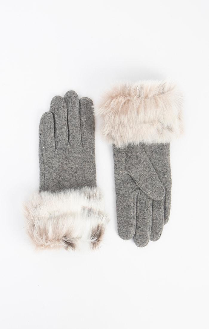 Grey Faux Fur Cuff Gloves