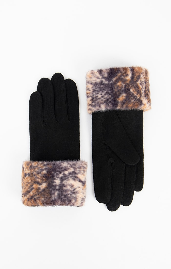 Lined Faux Fur Cuff Gloves