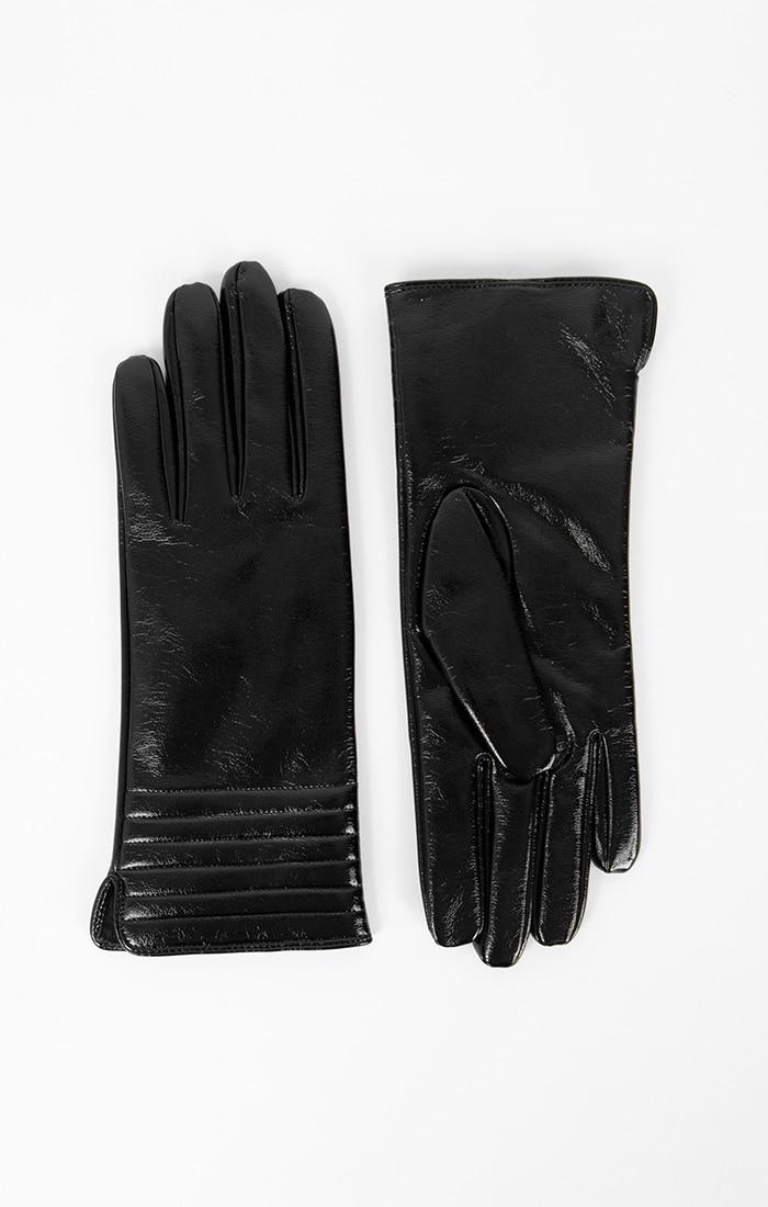 Womens Black PU Gloves