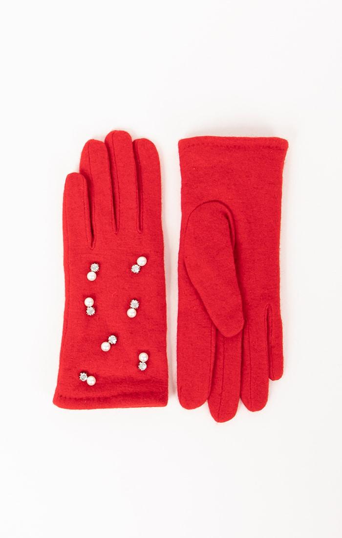 Red Pearl Embellished Gloves