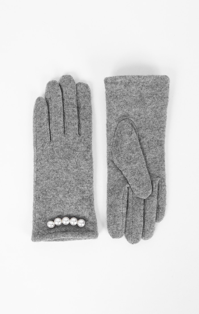 Womens Pearl Embellished Gloves