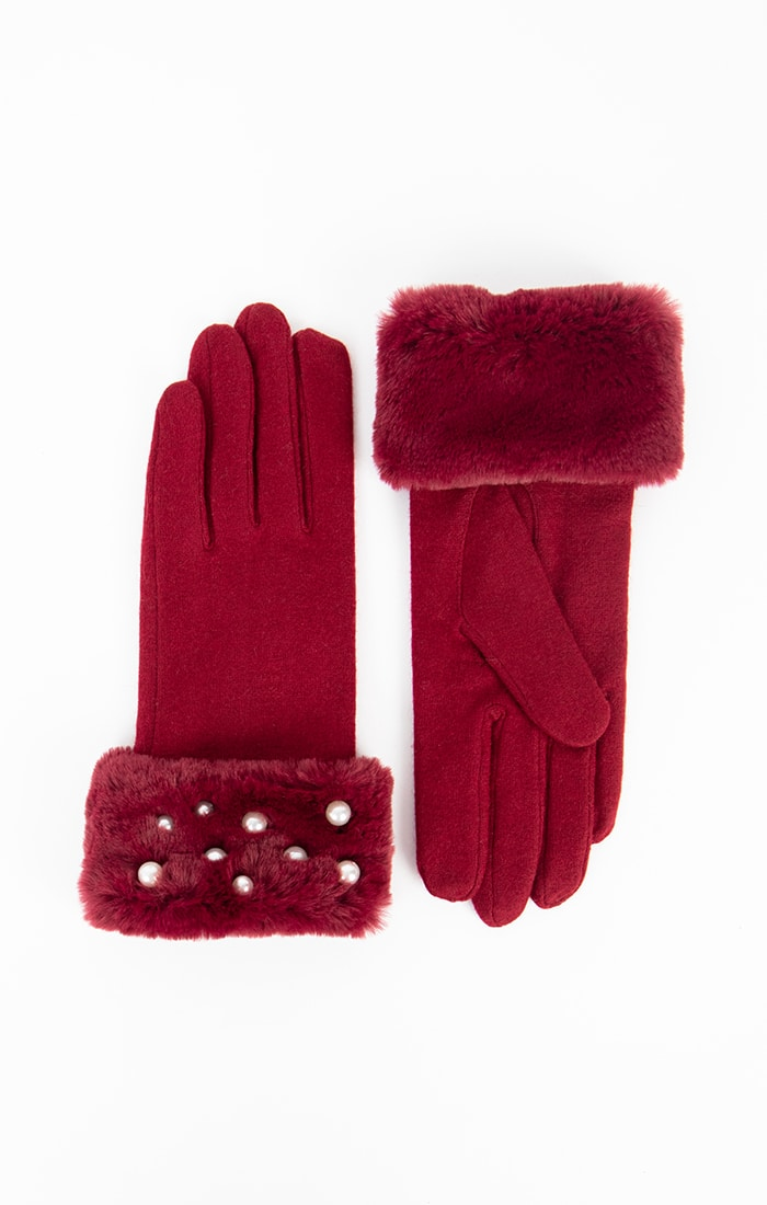 Burgundy Faux Fur Cuff Gloves