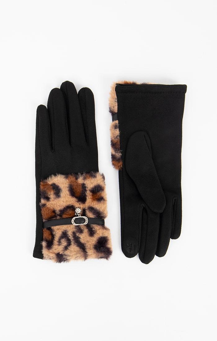 Gloves with Leopard Print Faux Fur Cuffs