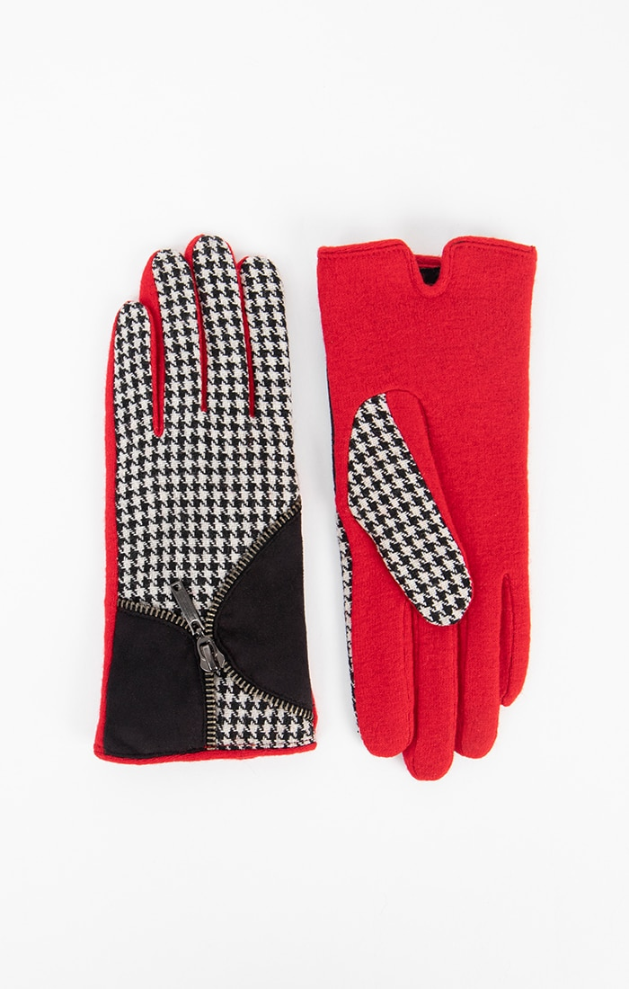 Black and Red Hound's-tooth Gloves