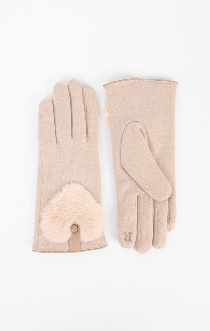 Cream Gloves with Fur Heart