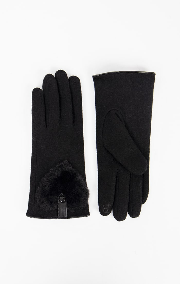 Black Gloves with Fur Heart